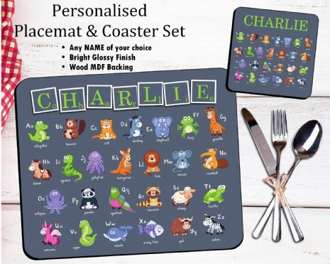Personalised Kids Table Placemat & Coaster Set N40 - Alphabet Design